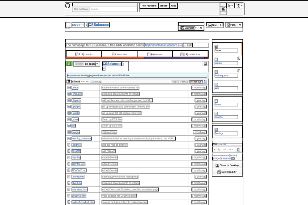 Screenshot of the CSSclasses GitHub page with elements highlighted with black borders.